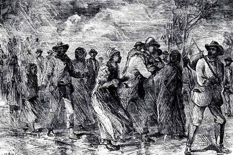 Artist's depiction of slaves escaping from Maryland on the Underground Railroad