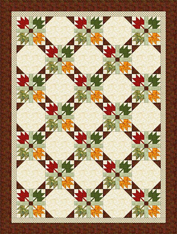 Quilt Template Leaves : Easy Maple Leaf Quilt Pattern (Bed Size Quilt)