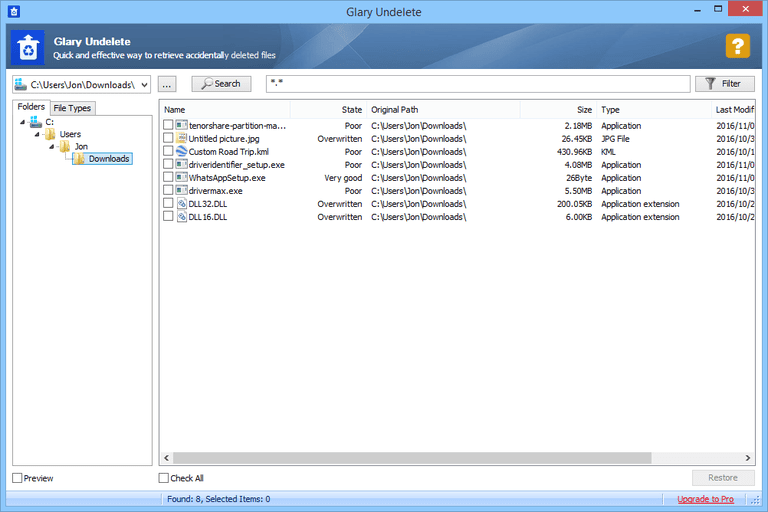 Screenshot of Glary Undelete in Windows 8