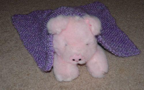 Bias garter stitch doll blanket