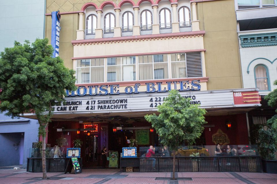 The Exterior and marquee of the House of Blues in San Diego