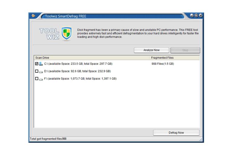 Screenshot of Toolwiz SmartDefrag