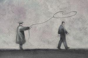 painting of man lassoing businessman