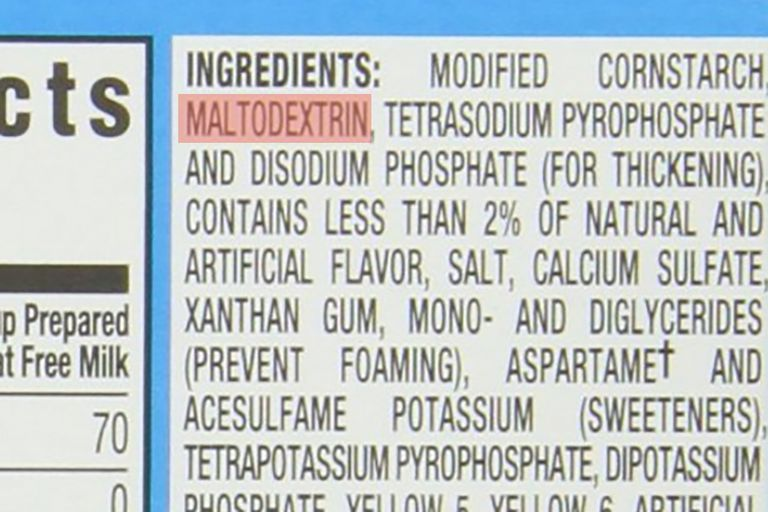 Ingredient list with Maltodextrin