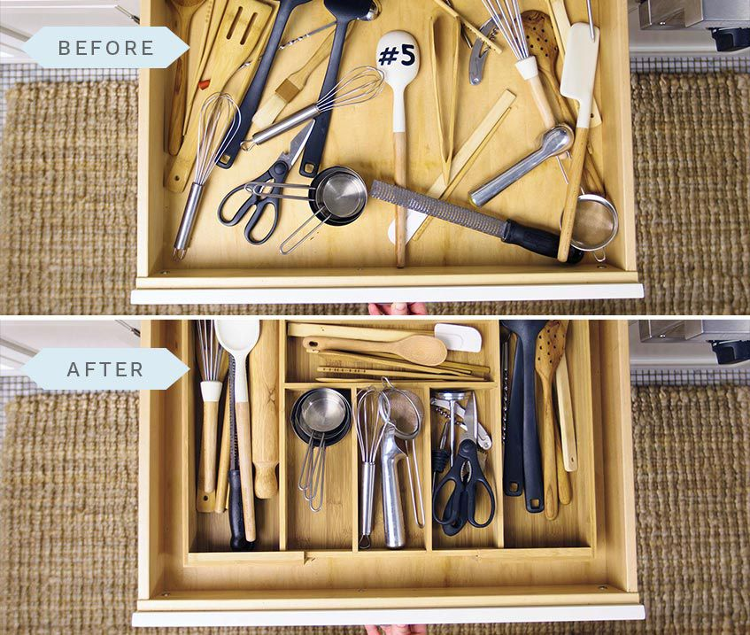 Utilizing an Organizer for Silverware But Not Cooking Utensils