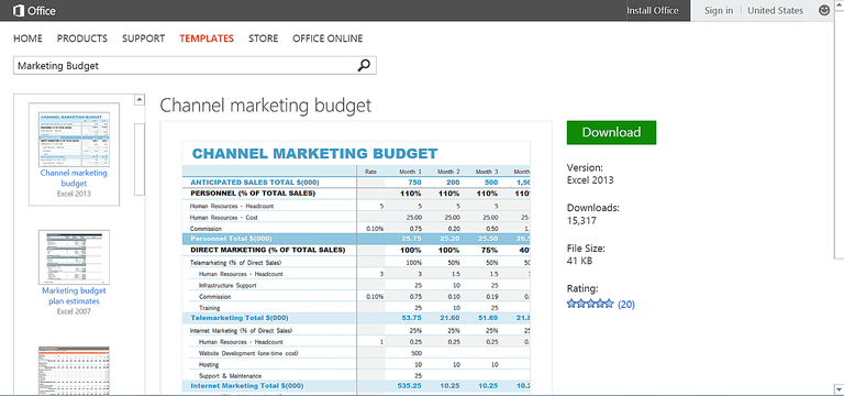 free marketing budget template or printable for microsoft excel