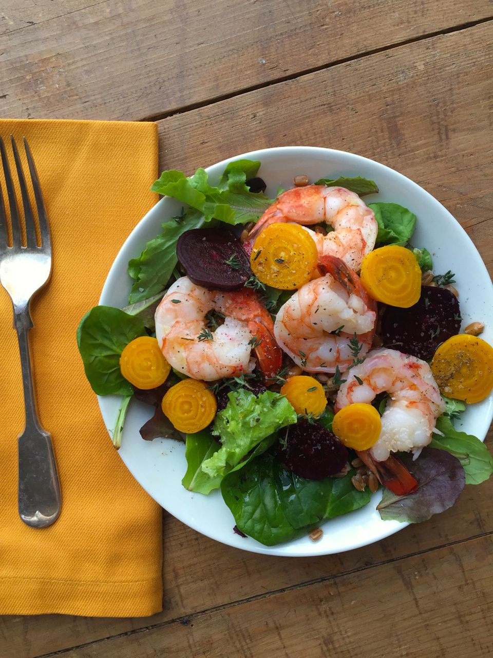Beet, Shrimp and Spelt Salad