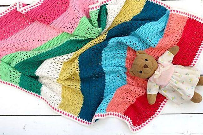 Striped Crochet Lace Blanket Pattern