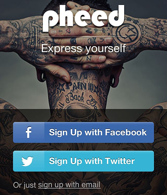 pheed signup screen