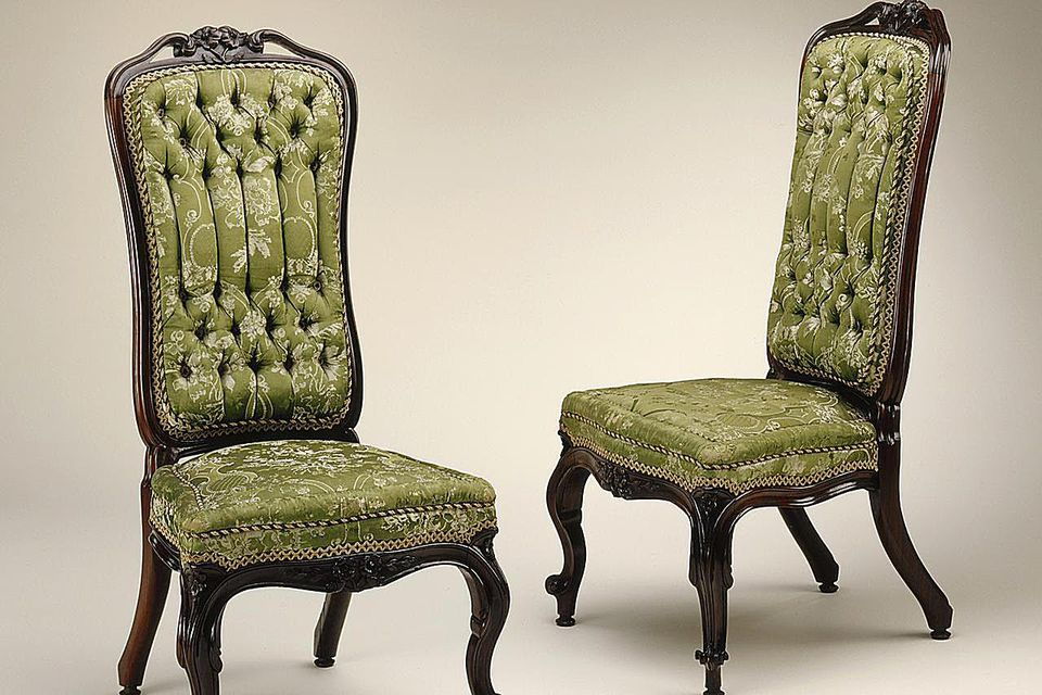 A matched pair of slipper chairs. LACMA/Wikimedia Commons - Upholstered Antique Chair Styles