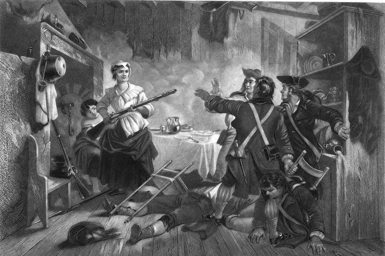 Etching of Nancy Hart holding British soldiers at gunpoint in her home during the American Revolution
