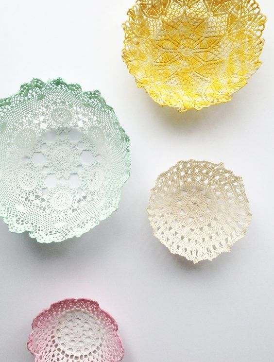 Bowls de manteles de ganchillo