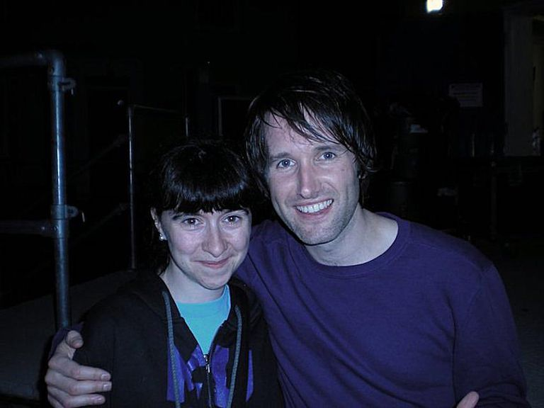 Tim Wheeler of Ash with fan Dominique Bennett