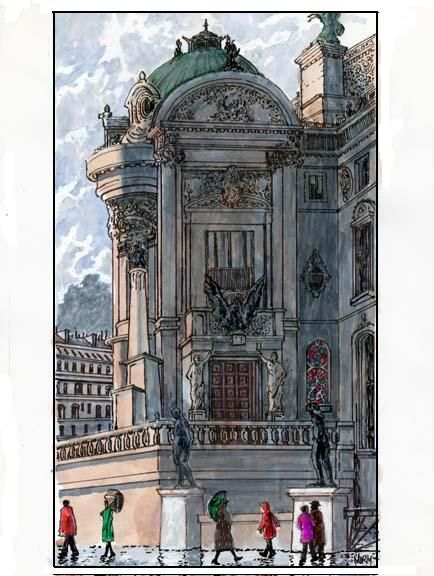 A detail of the Opera Garnier in watercolor from Oregon-based artist Norman K. Vance.