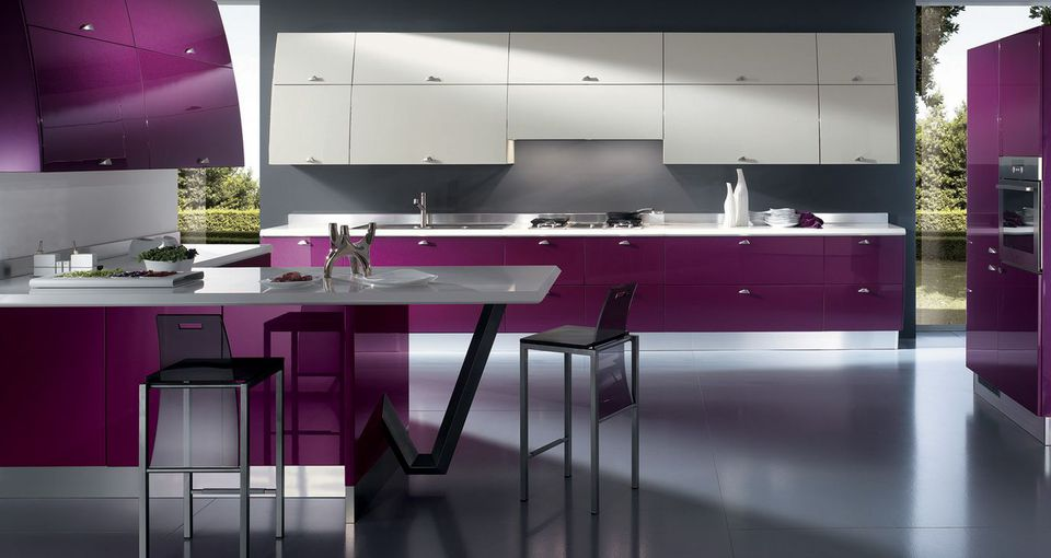 Bold Lacquered Purple Makes This Super-Modern Kitchen Pop With Color