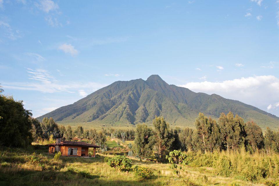 Cottage at Sabyinyo Silverback Lodge on the edge of Volcanoes National Park, Rwanda.