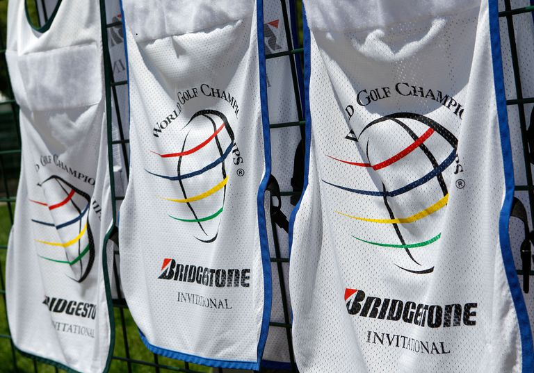 Caddie bibs for the PGA Tour's WGC Bridgestone Invitational tournament