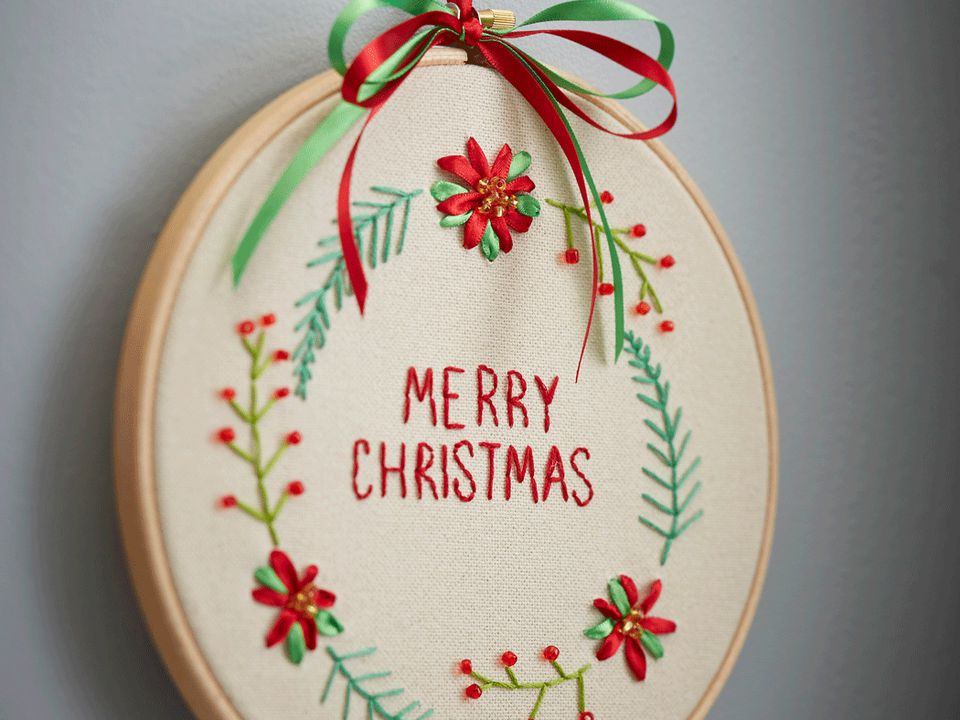 Merry Christmas Ribbon Embroidery Pattern