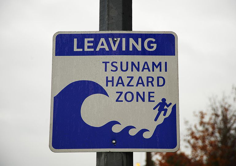 Tsunami hazard zone warning sign, close-up