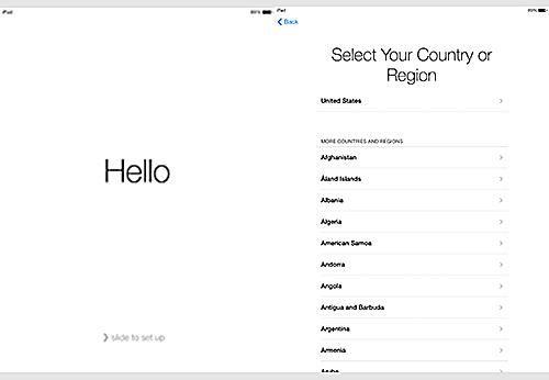 setting up an iPad, step 1