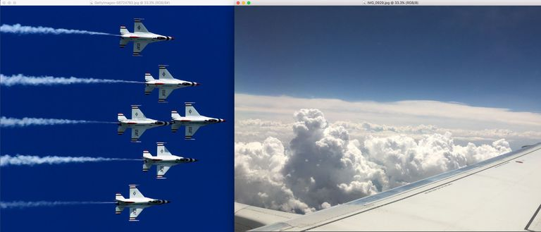 An image of fighter jets is on the left and an image from the window seat of a plane is on the right.