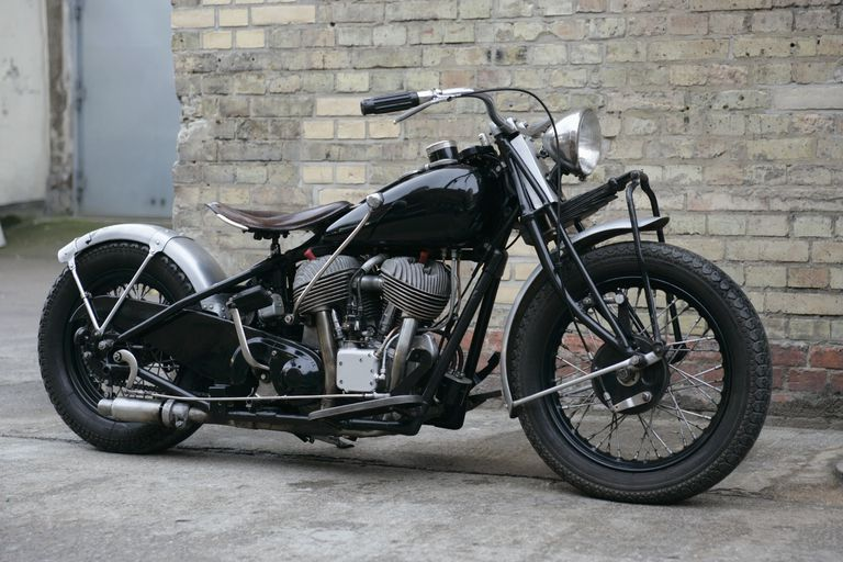 Side view of an antique motorcycle