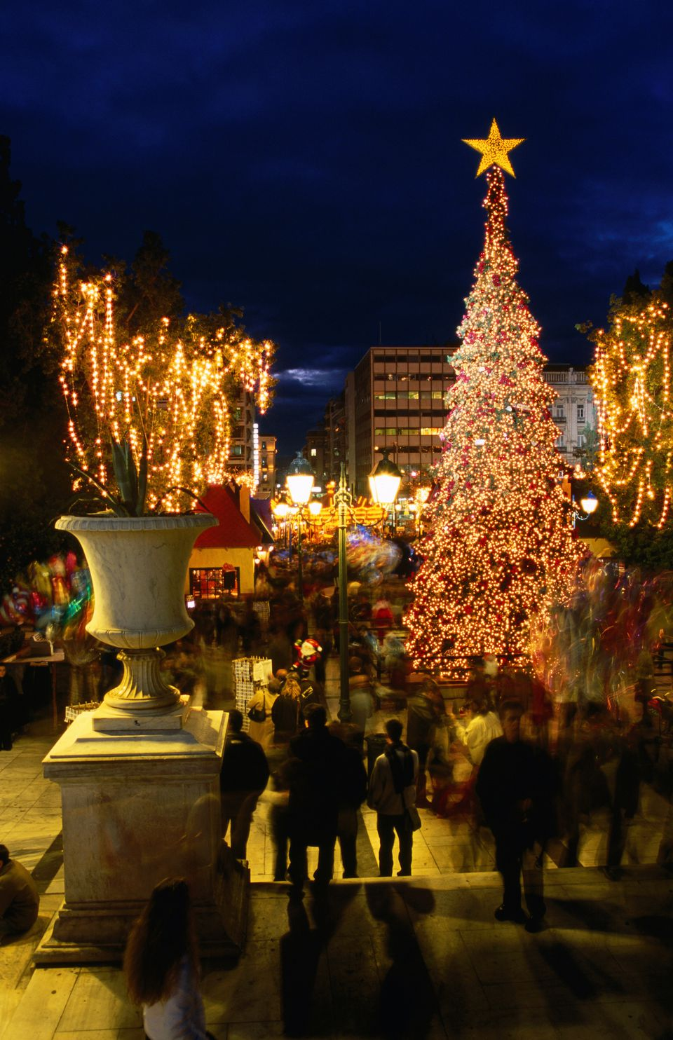 Christmas tree erected each year in Syntagma Square. Attica, Greece, Europe