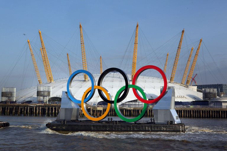 Giant Olympic Rings Are Launched On The River Thames