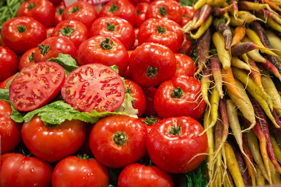 Fresh tomatoes on display