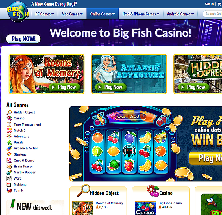 Websites where you can play free online games for Big fish games video games