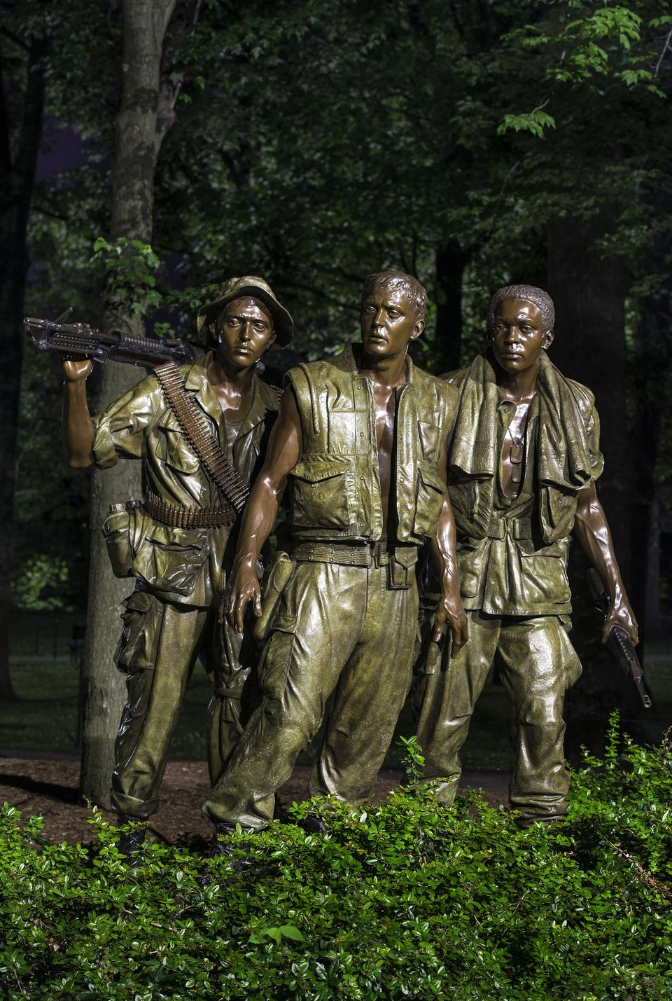 The Three Soldiers Sculpture at the Vietnam Veterans Memorial in Washington DC The Three Soldiers sculpture at the Vietnam Veterans Memorial in Washington DC.
