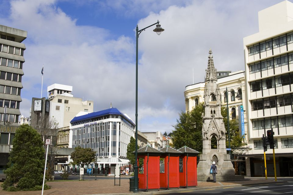 Cargill Monument and red phone boxes on corner of Princes and Rattray Streets.