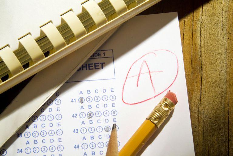 Graded exam sheet that earned an A