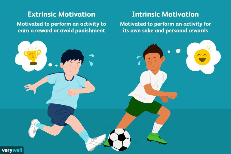 spiegazione della differenza fra motivazione intrinseca ed estrinseca attraverso due ragazzi di cui uno vuole giocare per il trofeo mentre l'altro perché si diverte