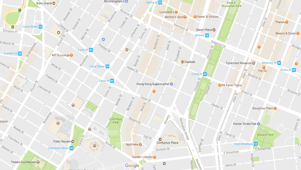 New Yorks Chinatown and Little Italy Neighborhood Map