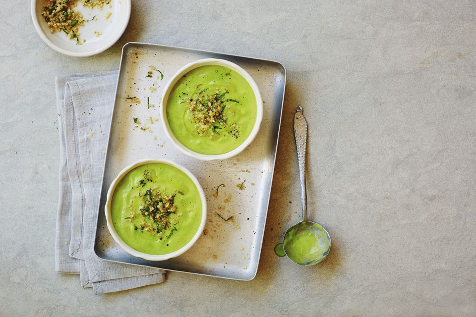 Summer pea, mint and avocado soup with quinoa