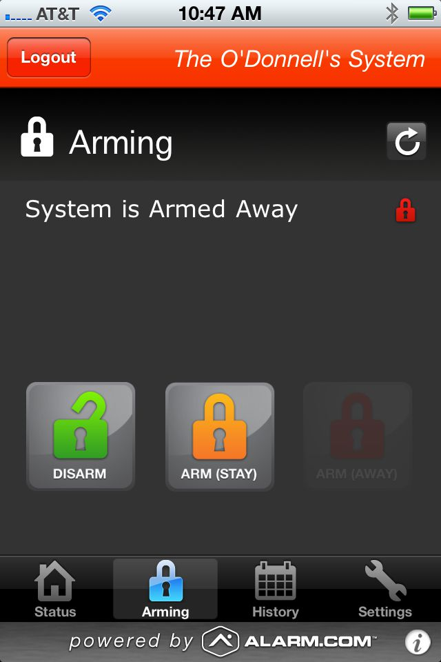 Alarm.com's App for the iPhone