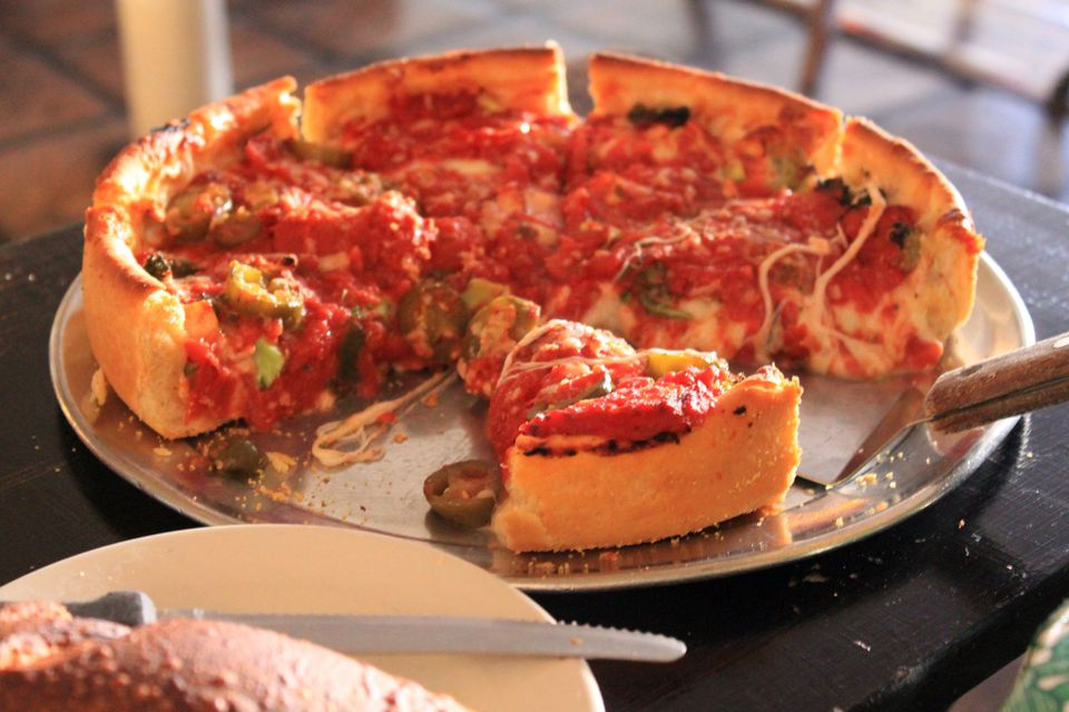 chicago deep dish pizza pie.