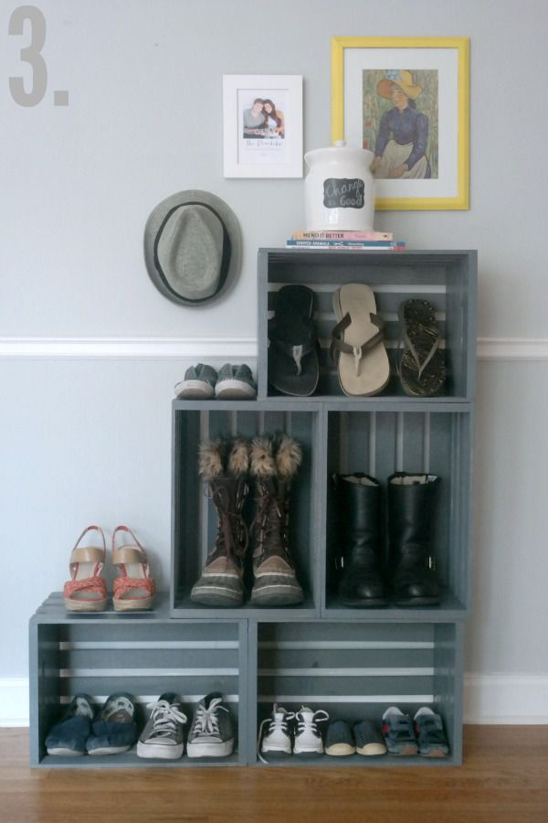 25 ways to decorate with wooden crates. Black Bedroom Furniture Sets. Home Design Ideas