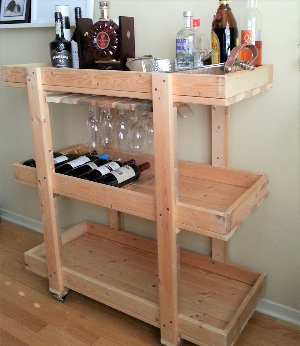 diy bar. Wood Wine Rack Bar Cart DIY 10 Carts