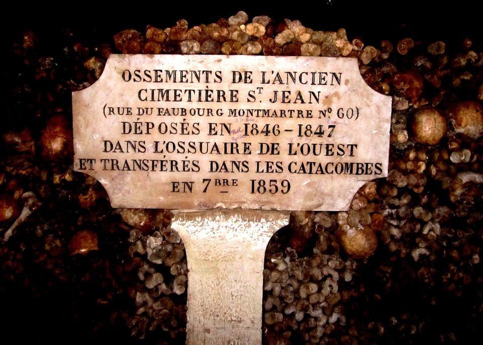 A shot from the Paris Catacombs, holding the remains of six million Parisians.