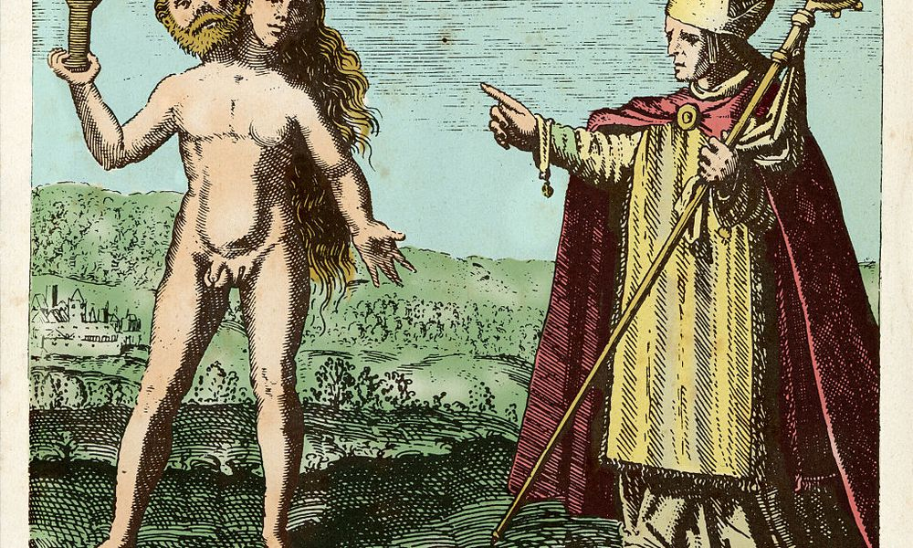 Albert the Great (1193-1280) indicates a symbolic hermaphrodite who holds a letter Y