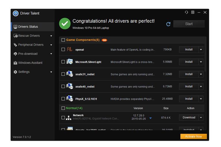 Screenshot of Driver Talent v7 in Windows 10