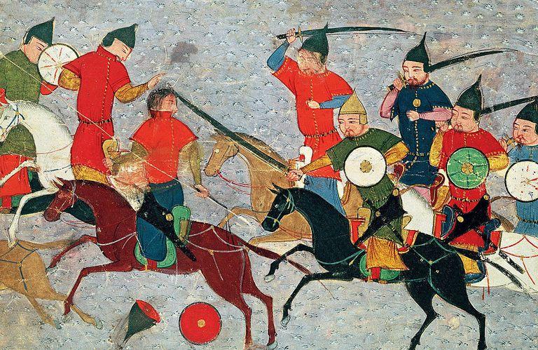 Ghenghis Khan in combat Miniature from Jami' al-tawarikh (Universal History), ca 1430