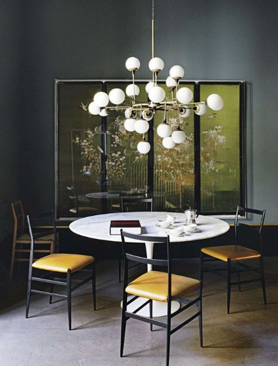 gray dining room with modern chandelier - Modern Colors For Dining Room