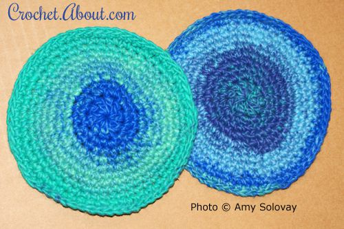 Circles Crocheted Using Variegated Yarn