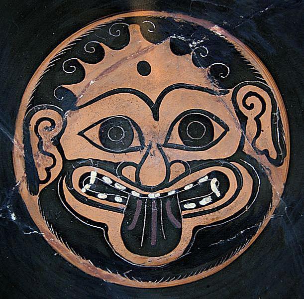 Gorgoneion. Attic black-figure cup, ca. 520 BC. From Cerveteri.