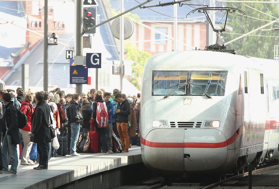 A Deutsche Bahn high-speed ICE train arrives at Hauptbahnhof main railway station in Berlin, Germany