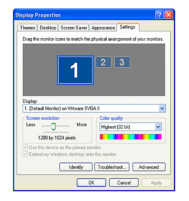 A scerenshot of the Windows XP Display Properties