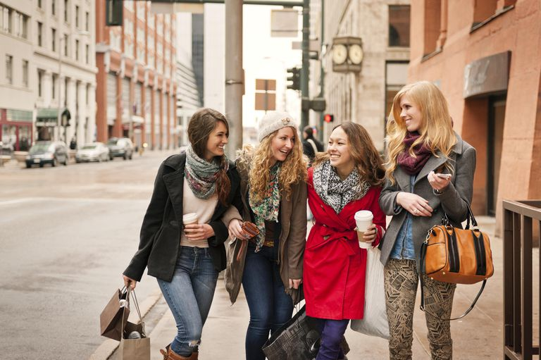 Girl Friends Shopping and Drinking Coffee In City